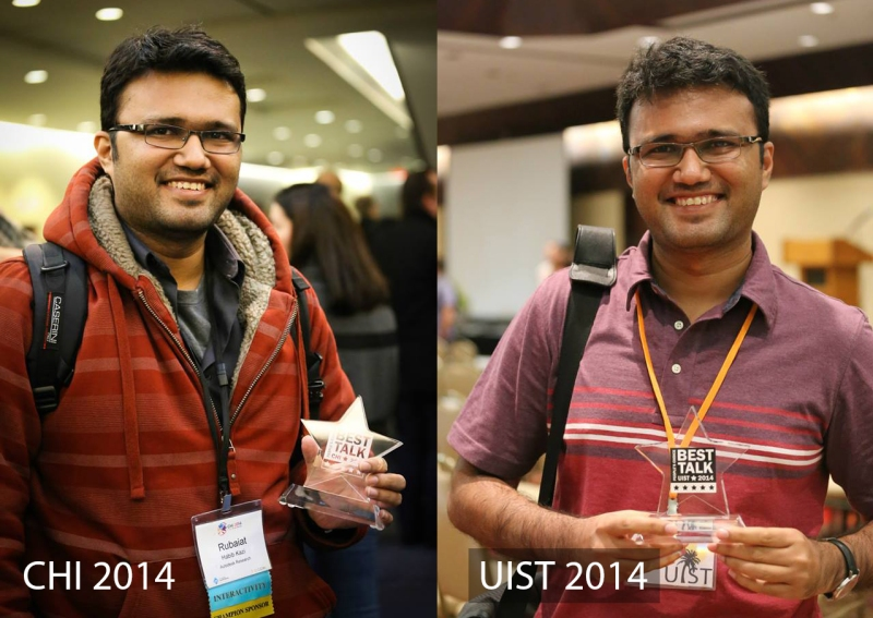 Best talk awards at ACM CHI 2014 and ACM UIST 2014